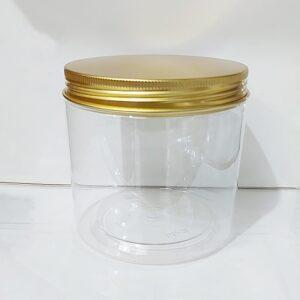 กระปุก PET ใส 10 x 10cm 785ml ฝาทอง