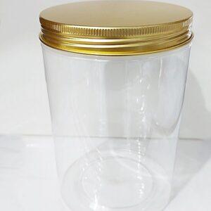 กระปุก PET ใส 10 x 15cm 1175ml ฝาทอง