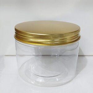 กระปุก PET ใส 10 x 8.5cm 600ml ฝาทอง